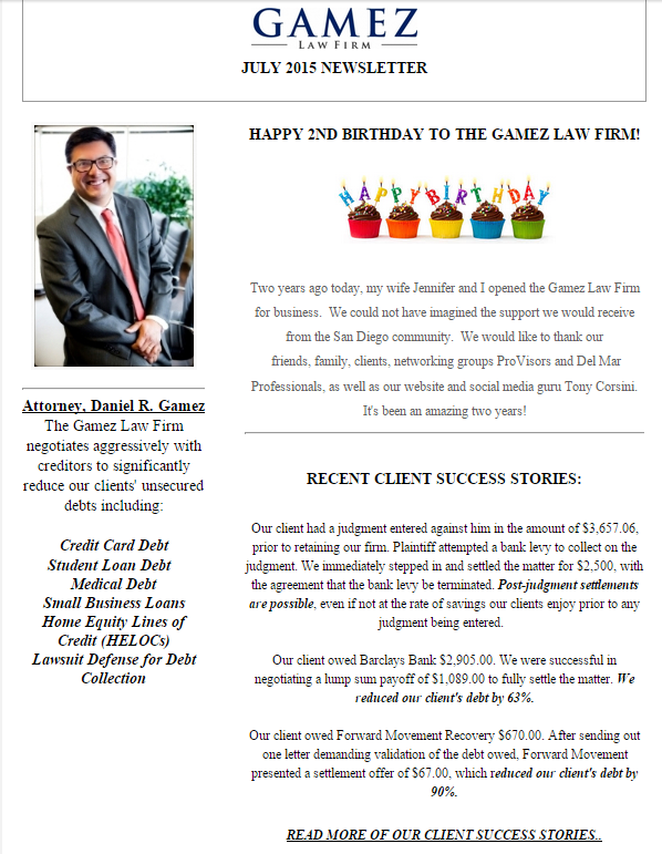 debt settlement attorney Gamez Law Firm July 2015 newsletter