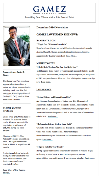 Gamez Law Firm Newsletter December 2014