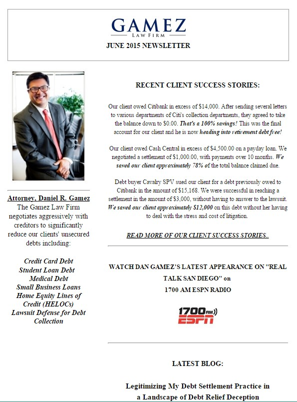 Gamez Law Firm Newsletter Debt Settlement Attorney June 2015