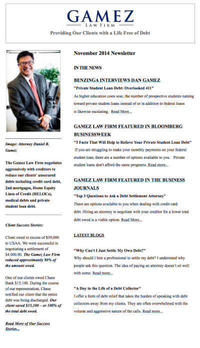 Gamez Law Firm Newsletter November 2014