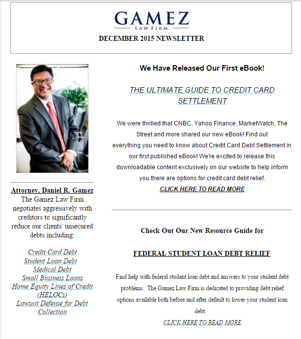San Diego Debt Lawyer Gamez Law Firm Newsletter December 2015