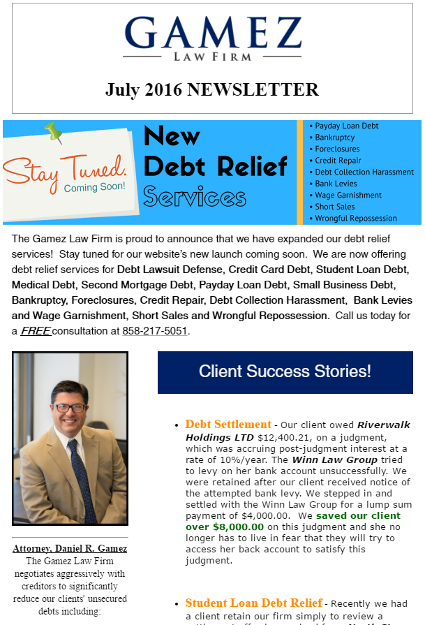 debt help newsletter july 2016