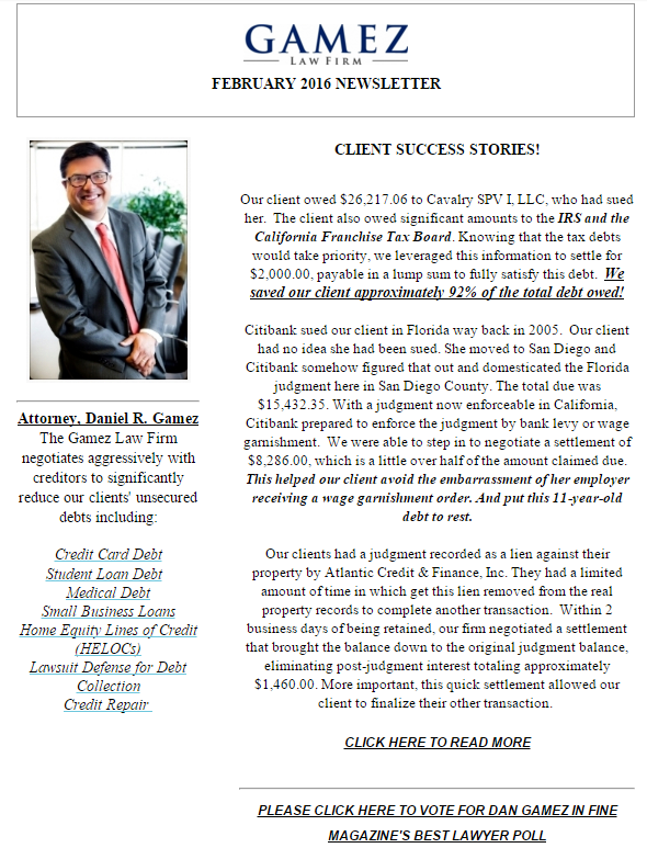 debt relief san diego newsletter gamez law firm february 2016