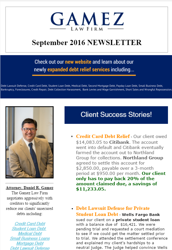 debt relief newsletter gamez law firm September 2016