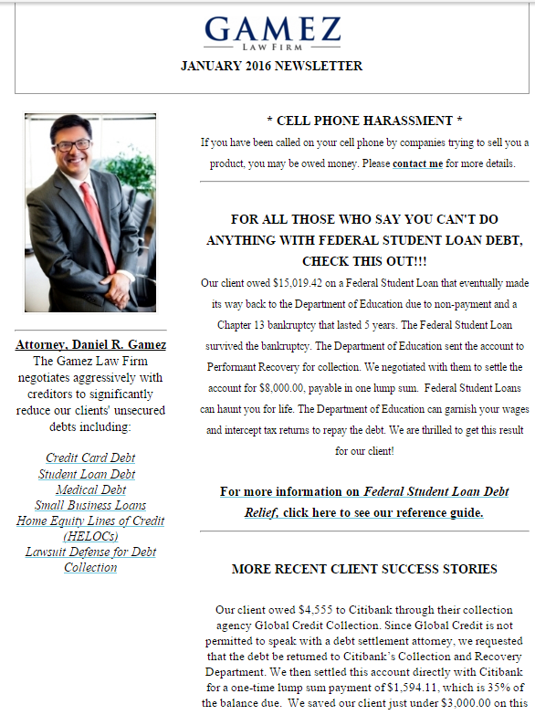 san diego debt relief newsletter january 2016 gamez law firm