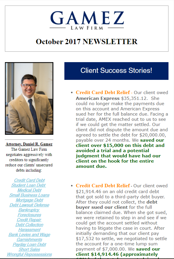 debt relief san diego newsletter october 2017