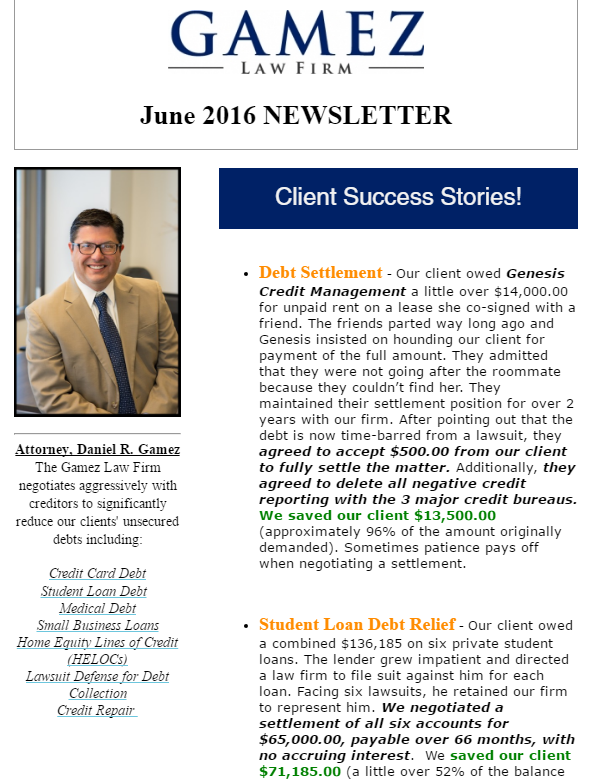 debt settlement attorney san diego newsletter june 2016