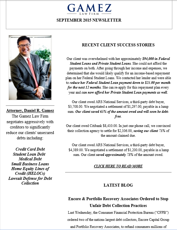 gamez law firm newsletter September 2015 debt settlement law firm in San Diego