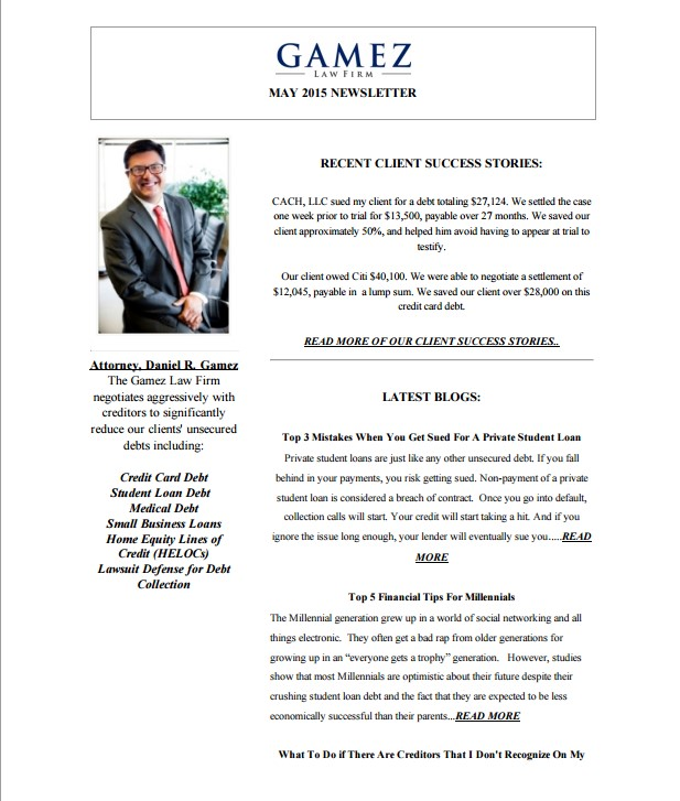 Gamez Law Firm May 2015 Newsletter
