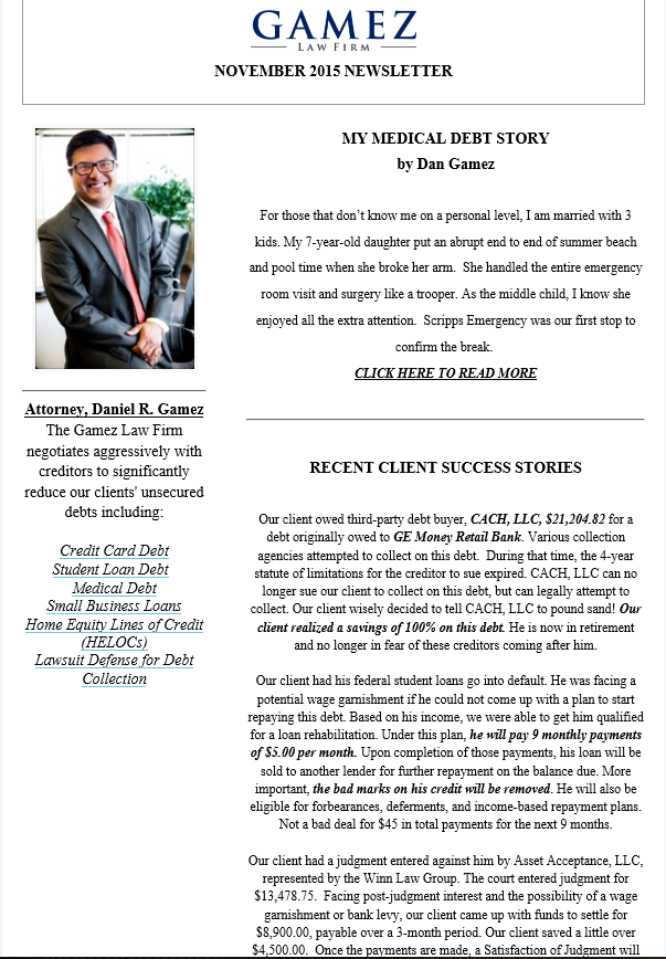 debt relief newsletter gamez law firm november 2015