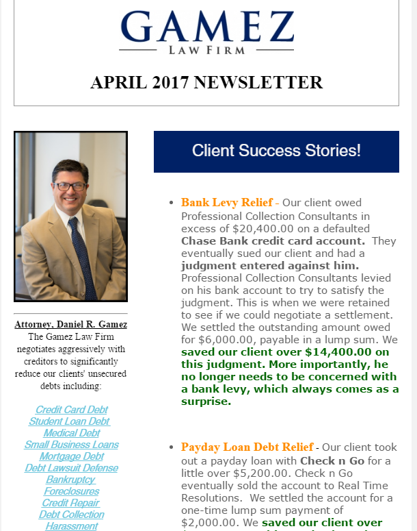 san diego debt relief attorney gamez law firm newsletter April 2017