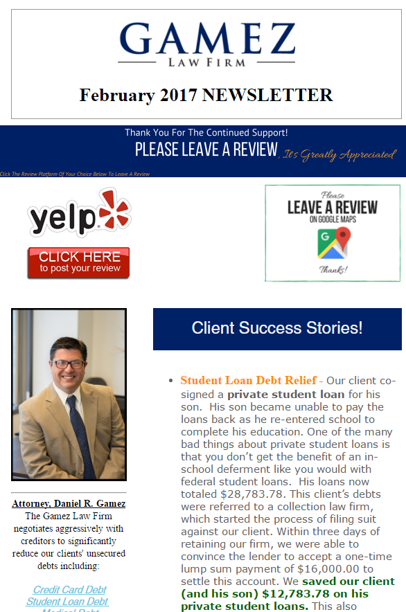 san diego debt relief attorney newsletter february 2017
