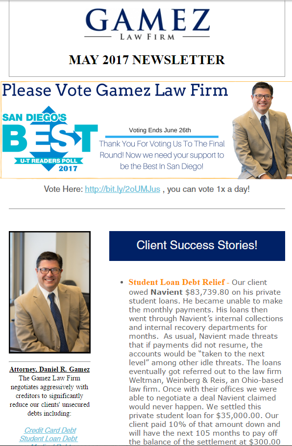 san diego debt relief atttorney gamez law firm may newsletter 2017