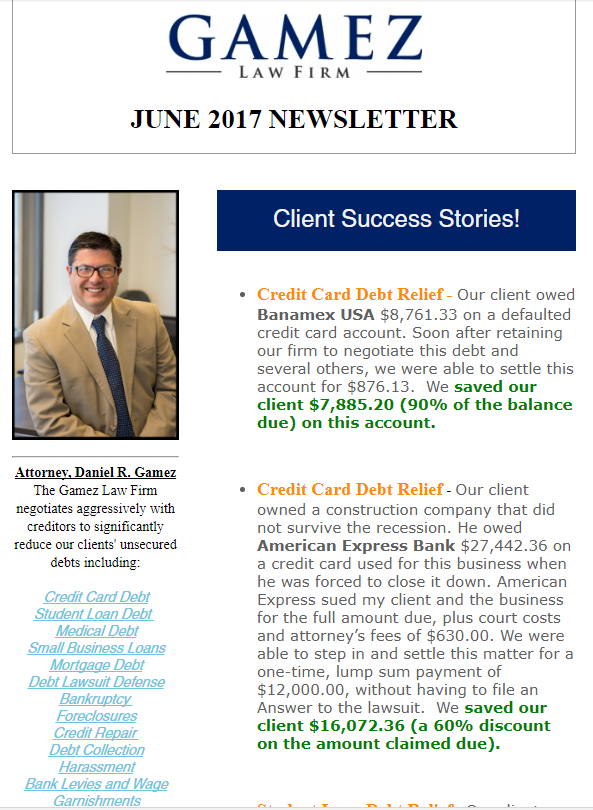 san diego debt relief help newsletter may 2017