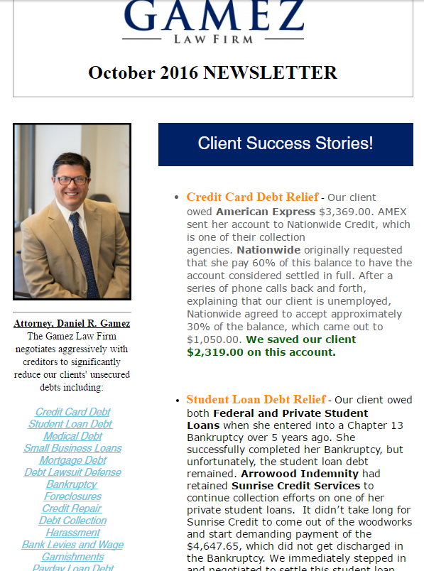 san diego debt relief newsletter 2016