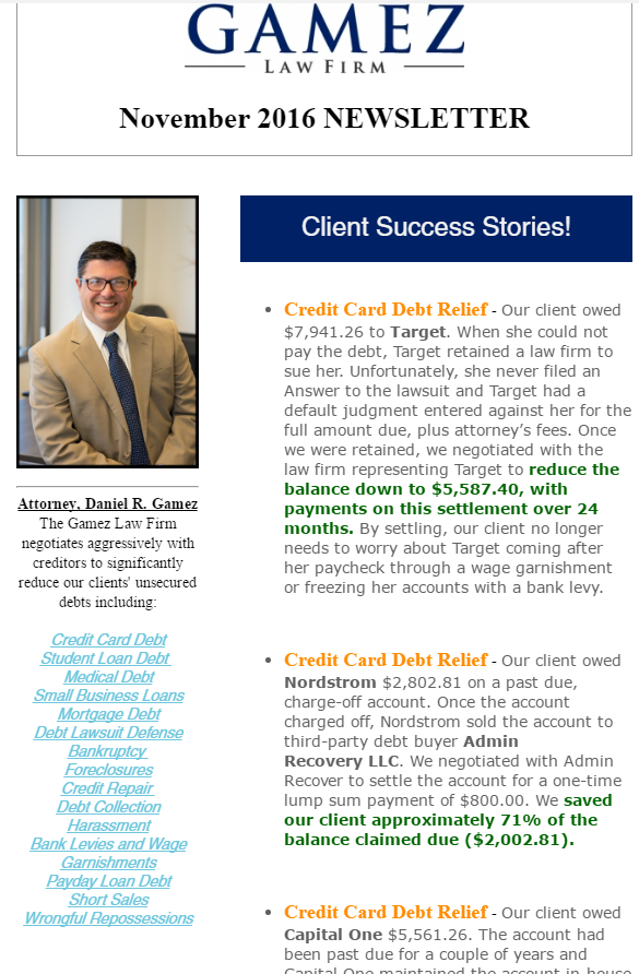 san diego debt relief newsletter Gamez Law Firm 2016