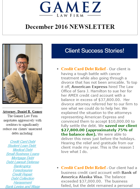 san diego debt relief newsletter gamez law firm