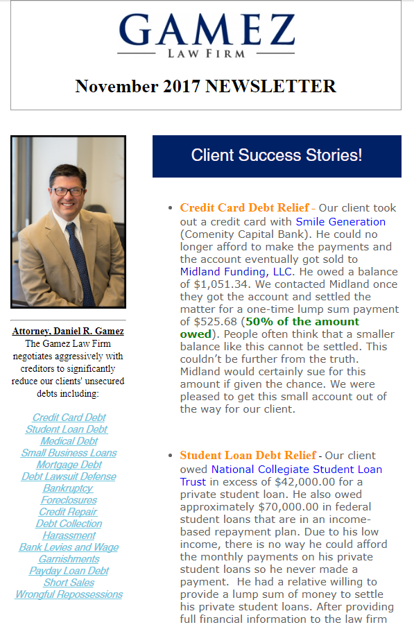san diego debt relief newsletter gamez law firm november