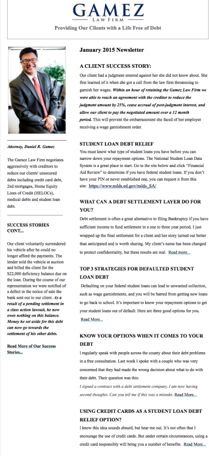 Gamez Law Firm Newsletter January 2015
