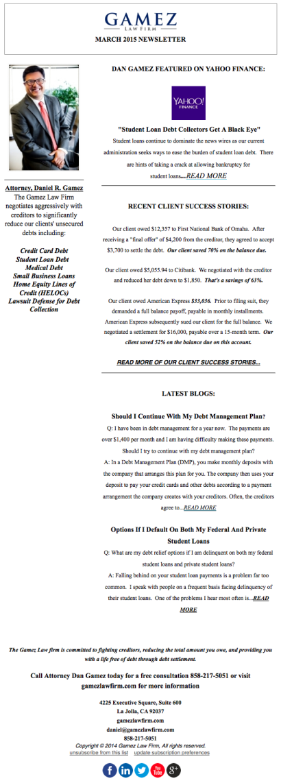 Gamez Law Firm Newsletter March 2015