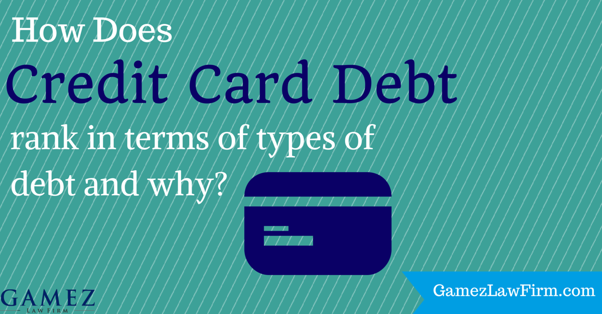 how credit card debt ranks in terms of types of debt and why