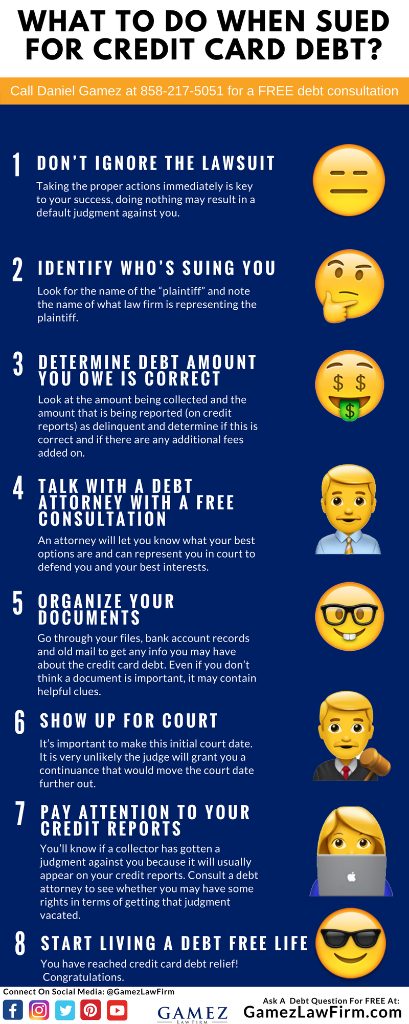what to do when sued for credit card debt inforgraphic